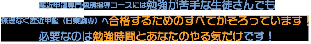 産近甲龍専門個別指導コースには勉強が苦手な生徒さんでも無理なく産近甲龍(日東駒専)へ合格するためのすべてがそろっています! 必要なのは勉強時間とあなたのやる気だけです!