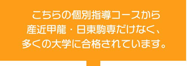 こちらの個別指導コースから 産近甲龍・日東駒専だけなく、 多くの大学に合格されています。